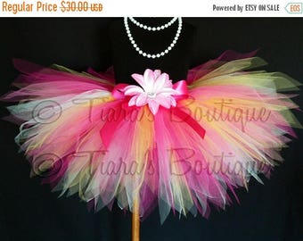 SUMMER SALE 20% OFF Girls Tutu, Birthday Tutu, Easter Tutu, Baby Tutu, Cake Smash Tutu, Tropical Bloom, Yellow and Pink Tutu, 11'' Pixie Tut