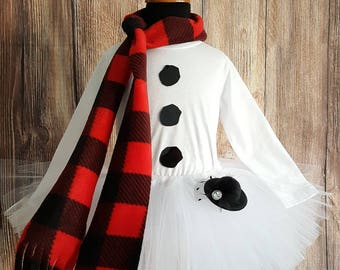 Snowman tutu set, girls snowman tutu costume, long sleeved shirt, less full tutu, red buffalo plaid scarf and mini top hat for girls
