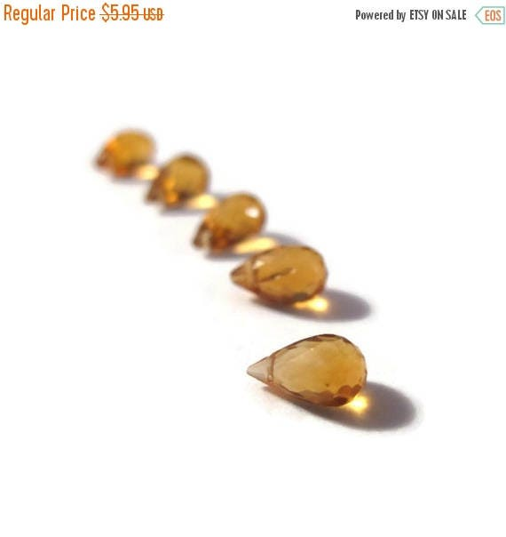 Summer SALEabration - Five Little Citrine Beads, 5 Tiny Faceted Briolettes, 5mm x 3mm - 8mm x 5mm Gemstones for Making Jewelry (B-Ci1c)