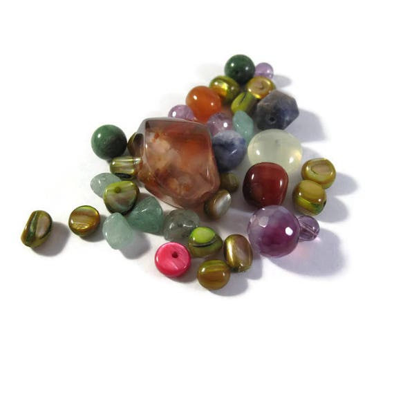 Colorful Gemstone Bead Mix, Beautiful Gemstone Grab Bag, 35 Beads for Making Jewelry, Assorted Shapes and Sizes (L-Mix17e)