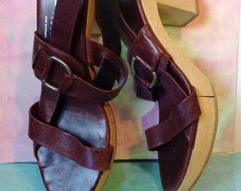 Vintage Robert Clergerie Wooden Leather Strappy Heels