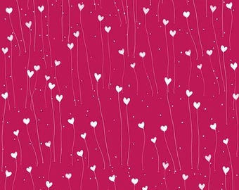 """Santoro, Kori Kumi -The Gift of Friends collection, """"Hearts"""" in Cherry red from Quilting Treasures, yard"""