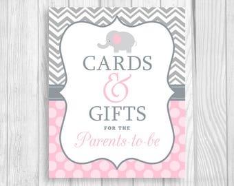 Cards and Gifts for the Parents-to-Be 8x10 Printable Elephant Baby Shower Sign in Gray Chevron and Light Pink Polka Dots - Instant Download