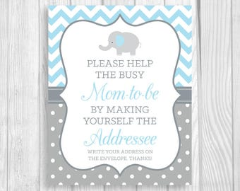 Printable Help the Busy Mom-to-Be 8x10 Write Your Address Elephant Baby Shower Sign - Light Blue Chevron Gray Polka Dots - Instant Download