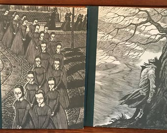 Bronte Sisters Jane EYRE and WUTHERING Heights Set of 1940's Books with Wood Graving Illustrated by Fritz Eichenburg