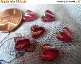 SALE 30% Off Tiny Siam Ruby Textured Red Glass Heart Cabochons 8x8mm 6 Pcs