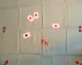 "Two 44"" Square Vintage Card Table Tablecloths - Embroidered and Applique on Linen"