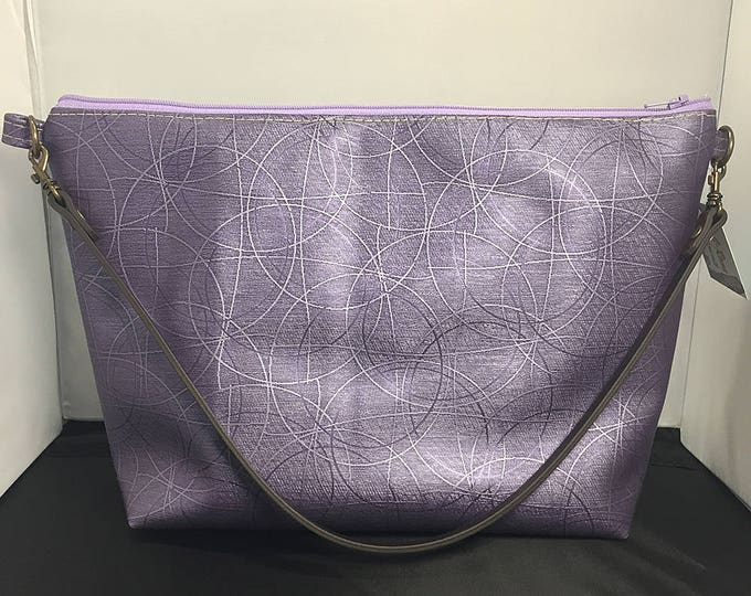 Clutch Purse - Purple Metallic Circles Vinyl (Small)