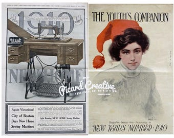 1910 Singer Sewing Machine AD New Home- 2 Sided New Years 1910 Youth's Companion- Edwardian Era Print AD