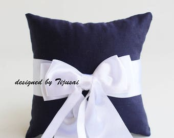 Navy blue Wedding Ring bearer pillow with bow-ring bearer, ring cushion, ready to ship