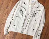 VINTAGE WESTERN JACKET H Bar C 1950s 60s white with black trim, bolero jacket, rockabilly coat, Nashville Boogie, retro style, hipster rodeo