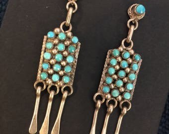 Zuni Snake Eye Turquoise Earrings drops from posts petit point needlepoint signed vintage sterling silver