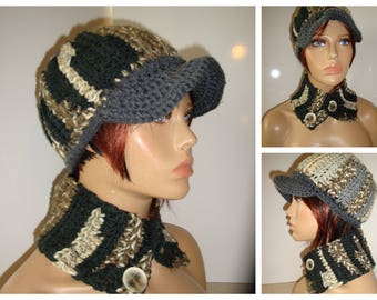Black/Grey/Brown Blend Hat and Neckwarmer Set - Cowl, Cap, Crochet hat set - handmade cap and scarf - Custom Colors