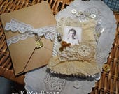 Fabric and Lace Altered Mini Notebook or Pocket Journal - lovely lady - NO36