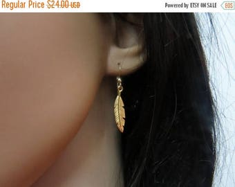 SALE - Gold feather earrings long dangle earrings, Gold dainty earrings, Gold feather jewelry