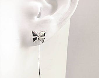 Butterfly earrings, Sterling Silver, long stem, Nature jewelry