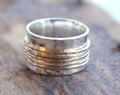 ON SALE Sterling and Gold Spinner Ring Fiddle Ring Silver and Gold SR120