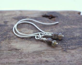 Labradorite Sterling Silver Dangle Drop Earrings