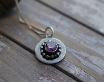 Amethyst Sterling Silver Gemstone Charm Necklace - February Birthstone Necklace