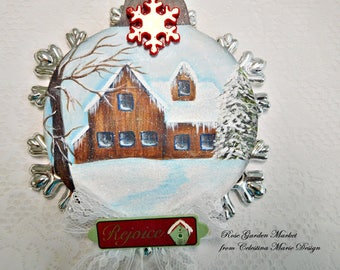 Rejoice, Hand Painted Winter in the Country, Silver Snowflake with Red Accent, Ornament, ECS