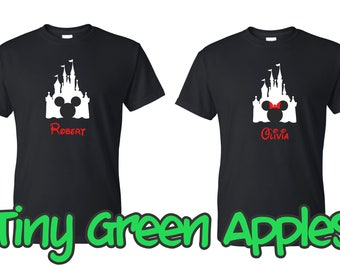 Personalized Disney Castle Mickey Minnie  inspired shirt w/name family disney vacation matching tees