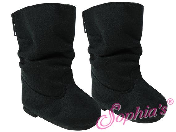 Black Suede Slouchy Boots - 18 Inch Doll Shoes
