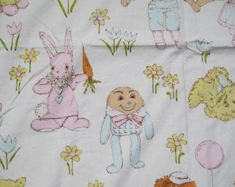 "1950s Vintage Pastel Curtains 2 Panels Nursery Rhyme Raggedy Ann & Andy Dolls Humpty Dumpty Rabbits Ducks 30"" Wide x 50"" Long"