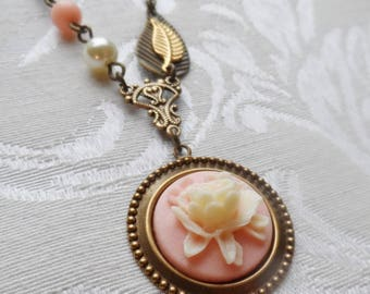1/2 Price Sale- Cream and Pink Cabbage Rose, Necklace with Vintage Beads