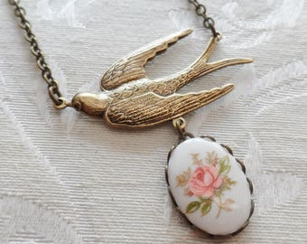 50% Off Sparrow Necklace with Vintage Cameo- Pink Rose