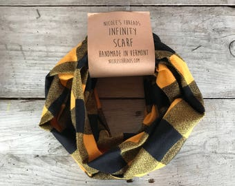 Mustard and Black Large Check Buffalo Plaid Infinity Scarf - Flannel - Oversized -Teal, Rust and Brown - Warm - Winter- Cozy - Unisex - Gray
