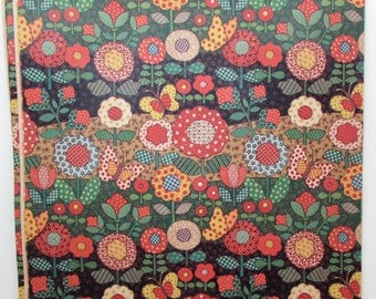Vintage Gift Wrap - Vintage Wrapping Paper - Calico Quilt - Flowers - Butterflies - 1980s - Quilter