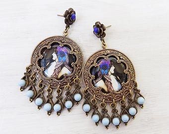 Gypsy earrings, Violet and blue, purple earrings, periwinkle blue, gypsy jewelry, chandelier earrings, bohemian earring, boho earrings, gift