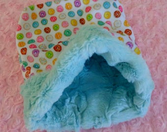 """Snuggle Sack- Pouch for Hedgehog - Sugar Glider Pouch - Whimsical Colorful Donuts pattern with coordinating Minky fur lining - 9""""x9"""""""