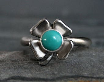 Lucky Turquoise Ring Sterling Silver Four Leaf Clover Ring Positive Affirmation Good Luck Charm St Saint Patricks Day Turquoise Jewelry Ring