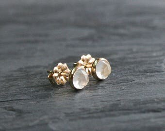 Moonstone 14k Gold Fill Stud Earrings 5mm Rose Cut Faceted Round Moonstone Gemstone 14 Karat Gold Filled Pair Post Earring Jewelry Studs