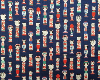 Kokeshi Dolls Japanese cotton fabric navy blue