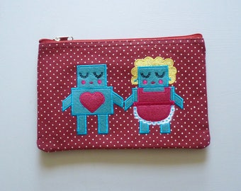 Robot Love Cosmetic Pouch / Clutch