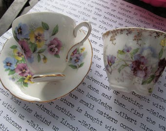 2 Vintage Pansy Teacups, one with saucer, one mustache cup