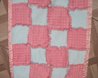Vintage Raggy Crib Quilt, Pink Blue quilt, baby quilt, Chenille Quilt, Candlewick baby bquilt