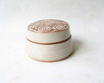 Unique Pill Box, Ceramic Trinket Box, Pottery Keepsake, Rustic Lidded Trinket Box