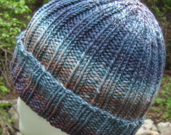 wool ribbed hat, hand knit, hand spun