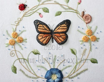 Butterfly Wreath Pattern and Kit for Stumpwork Embroidery