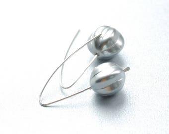 Silver Bead Earrings, Glass Jewelry, Silver Pumpkin Earrings, Silver Glass Earrings, Sterling Silver, Silver Earrings, Everyday Earrings