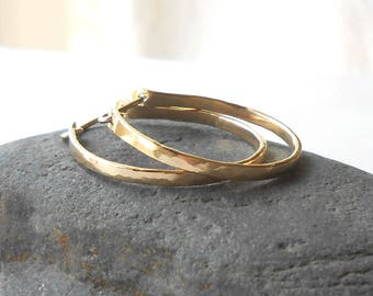 Small Gold Hoop Earrings, Hammered Gold Filled Flat Front Hoops, Artisan Jewelry