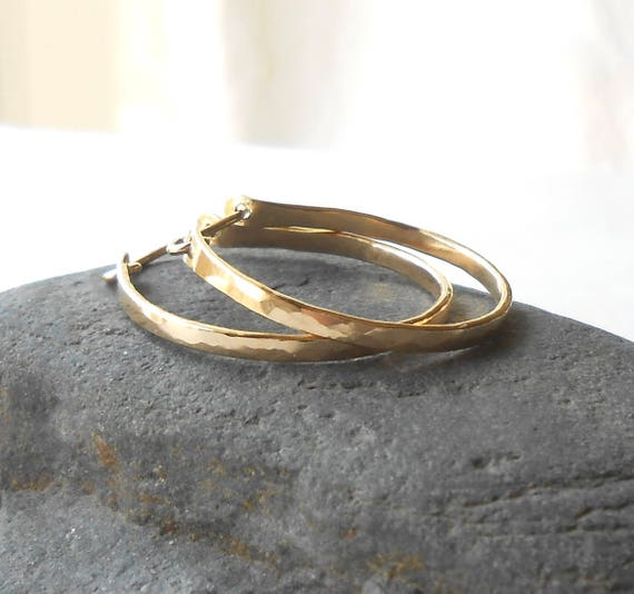 Small Gold Filled Hammered Hoop Earrings