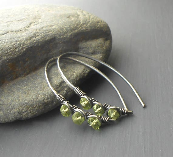 Sterling Silver Peridot Earrings, Oxidized Rustic Wire Wrapped Oval Hoop Earrings