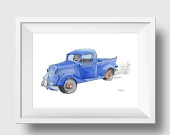 Little Blue Truck Nursery Print - Blue Pickup Truck Wall Art Print - Blue Truck Kids Wall Decor
