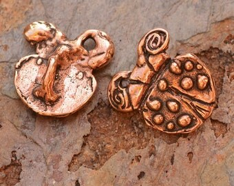 Copper Bronze Ladybug Button Adorned with Dots, B-623-c