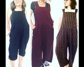 Loose Cotton Overalls - Cropped length, Solids and Stripes, Bib Romper, bib overall, cotton overalls, women's plus size, cropped pants
