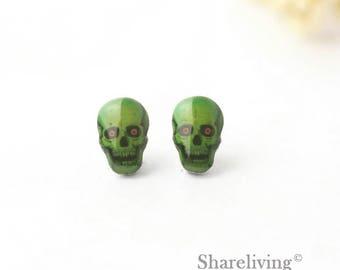 4pcs (2 pairs) Mini Skull Charm,  Stud Earring, Laser Cut Tiny Skull Earring, Perfect for Earring - YED029E